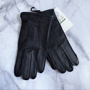 Barbour Men's Black Leather Bexley Gloves Small